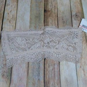 New Free People Intimately Lacey Looks Bandeau Medium Tan Strapless Lace
